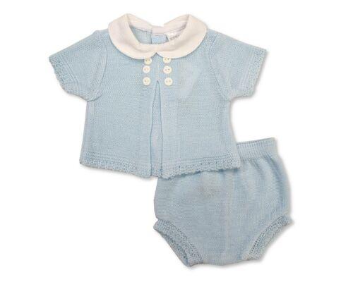 Baby Boys Spanish 2 Piece Set Blue Short Sleeve Top Bow Pants NB 3 6 M 19 56