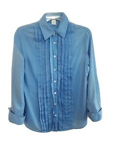 J. CREW Long Sleeve Button Up Shirt Blouse Pleated Front Top Blue Women's Small
