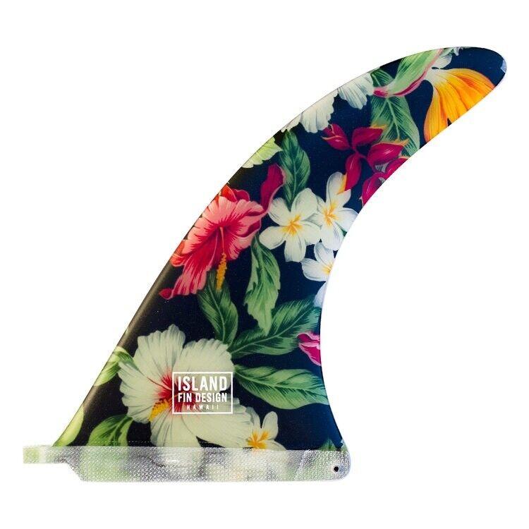 """Island Fin Design Surfbord Fin 10.0"""" Made In Hawaii Hand Made BLK Aloha"""