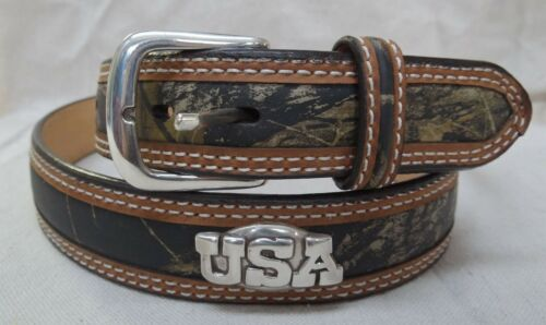 """WITH /""""USA/"""" CONCHOS 46 INCHES MOSSY OAK CAMO LEATHER  /& CANVAS BELT"""