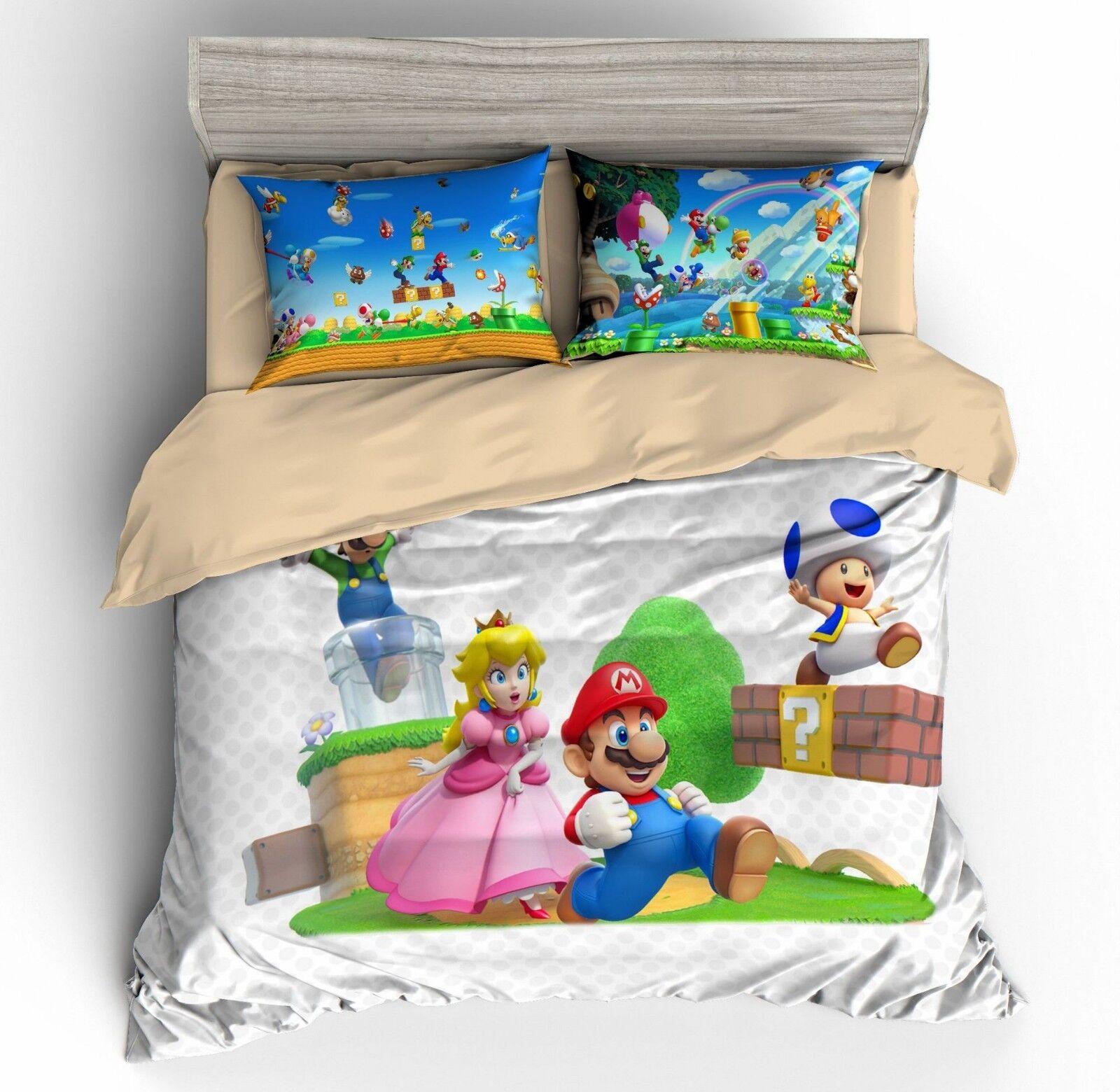 3D Super Mario Princess Peach Duvet Cover Sets Kids Soft Bedding Set Quilt Cover