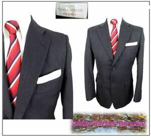 """Industrieux M&s Laine Riche 2 Pièce Costume Homme Ch38""""s W32"""" L29"""" Gris Foncé à Rayures-afficher Le Titre D'origine Les Couleurs Sont Frappantes"""