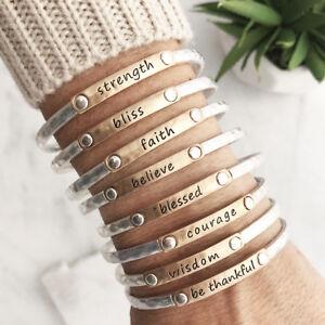 Inspiration-Words-Stacking-Bangle-bracelet-Faith-Blessed-Believe-Be-thankful