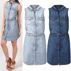 NEW-LADIES-BLUE-DENIM-SHIRT-DRESS-WOMENS-SLEEVELESS-BUTTONED-JEANS-BELTED-TOP