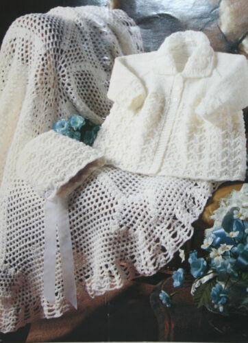 bonnet et châle tricot et crochet Pattern BP115 Baby/'s MATINEE Veste//Manteau