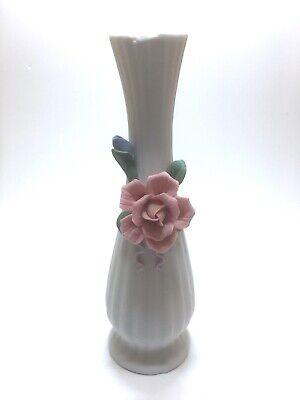 Vase Collectors Floral Vase Vintage Enesco White Vase With Pink Rose Home Deecor Flower Vase