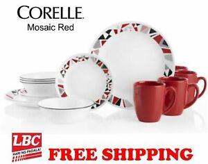 Corelle-mosaic-red-16-PC-dinnerware-set-original-box-FREE-shipping