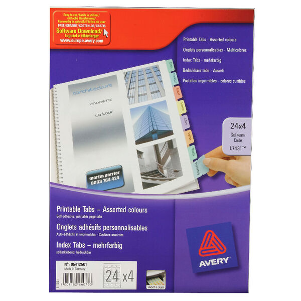 graphic about Printable Tabs named Av64075 Avery Divider Printable Tabs Multi-shade 05412501