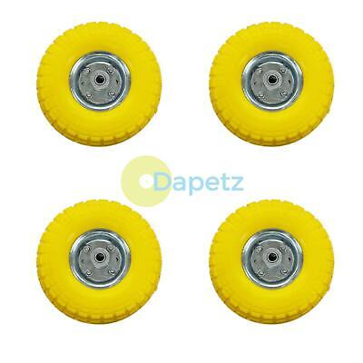 "4 x 10/"" Puncture Burst Proof Solid Rubber Sack Truck Trolley Wheels Tyres NEW"