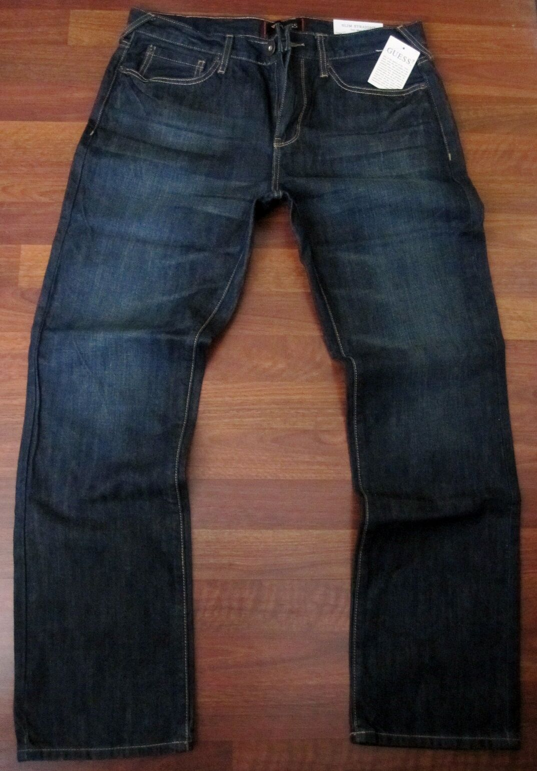 Guess Slim Straight Leg Jeans Mens Size 38 X 32 Sexy Dark Distressed Wash - NEW