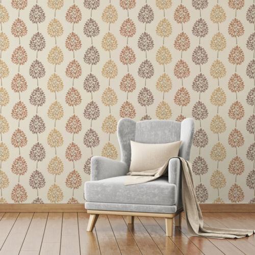 Natural Brown Fine Decor Wallpaper Feature Tree Foliage FD41595