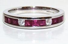 9CT WHITE GOLD  CHANNEL SET PRINCESS CUT RUBY .07CT DIAMOND ETERNITY RING  R 1/2
