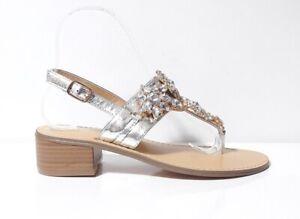 sports shoes f9006 06338 Dettagli su SANDALI INFRADITO SCARPE DONNA GARDINI SPIRIT 3728245 PELLE  ARGENTO PIETRE TACCO