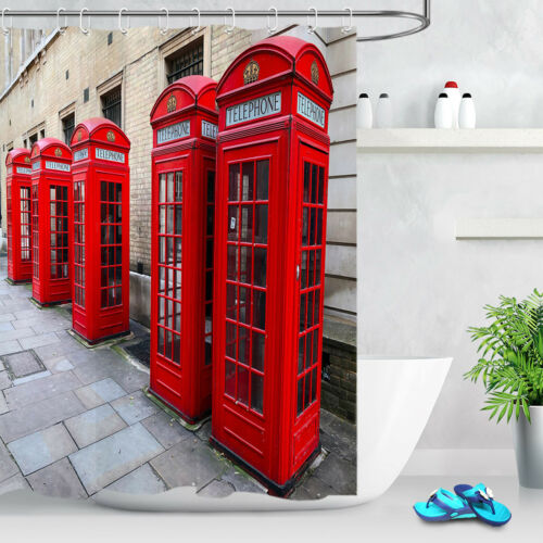 Red Telephone Boxs In Street Shower Curtain Liner Waterproof Fabric /& 12 Hooks