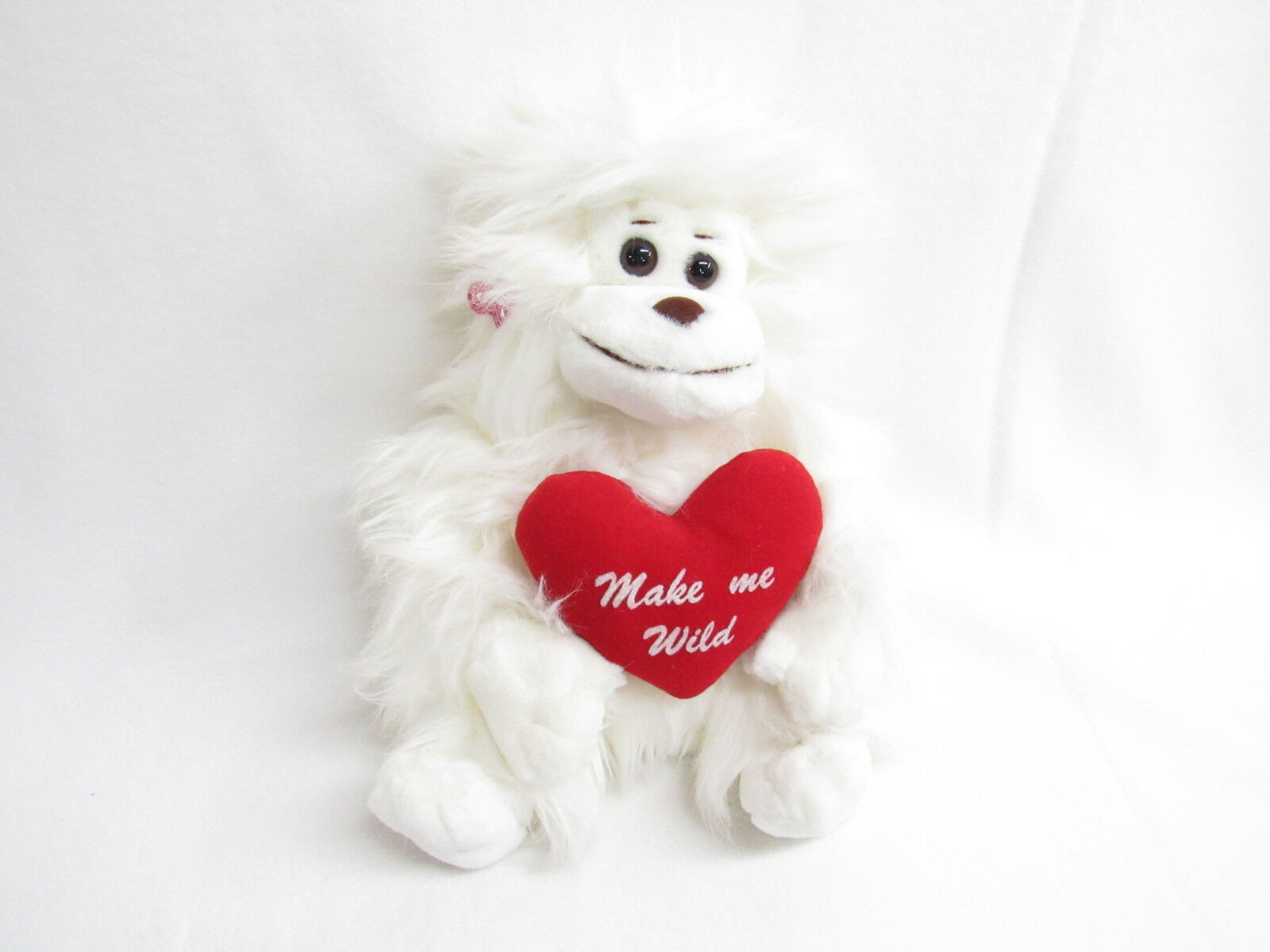 VTG RUSS BERRIE LONG HAIRED SHAGGY WHITE MONKEY GORILLA PLUSH  MAKE ME WILD