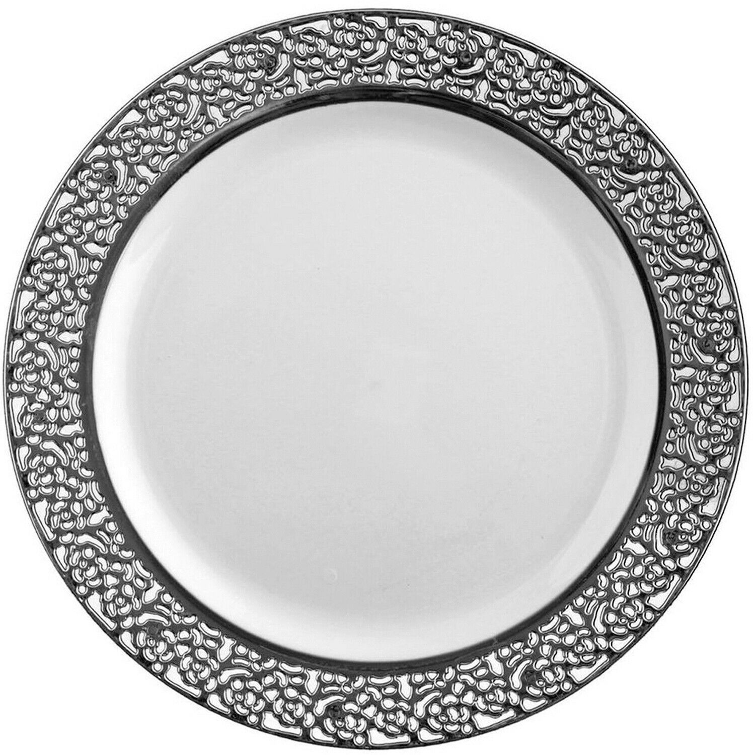 Fancy Inspiration Disposable Plastic Dinner Plate 10.25  Lace Silber Set of 10pc
