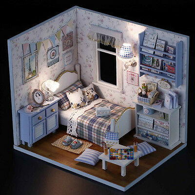 1 Pcs DIY Kids Miniature Doll House Toy Wooden House With Furnitures Model Kit