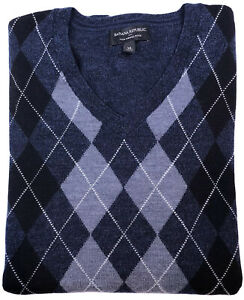 BANANA REPUBLIC Mens Merino Wool Argyle V Neck Sweater Navy Blue Size XL