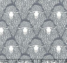 Michael Miller SHEEP Fabric Eyes On Ewe Gray & White- By the Yard- 100% Cotton