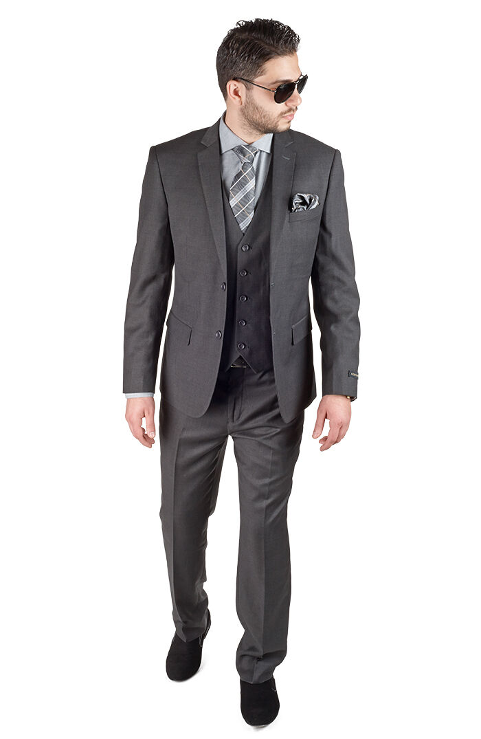 Slim Fit Suit 3 Piece Vested 2 Button Charcoal Grey Notch Lapel By AZAR MAN