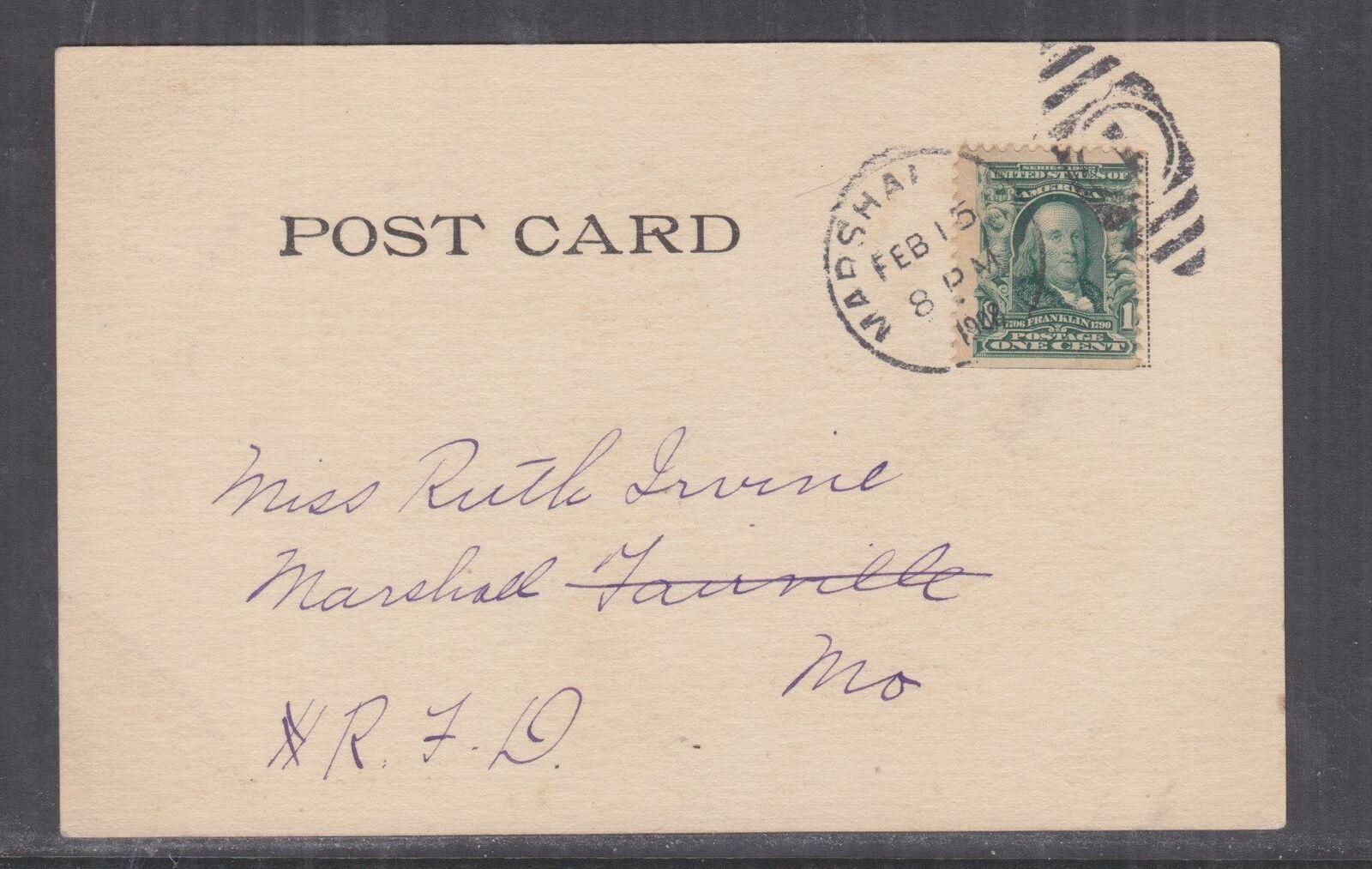 UNITED STATES, 1908 New Year ppc. 1c., MARSHALL, MO., local.