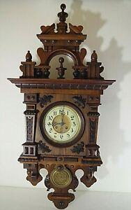 BAUER-GLOCKENGONG-1900-039-s-GERMAN-WALL-CLOCK-FREESWINGER-WORKING-amp-KEY-40-039-039