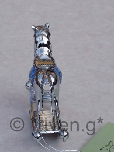 CRYSTOCRAFT CHROME PLATED BABY BOY ROCKING HORSE ORNAMENT WITH BLUE CRYSTALS
