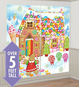 Gingerbread house scene setter christmas party wall decor for Christmas wall mural plastic