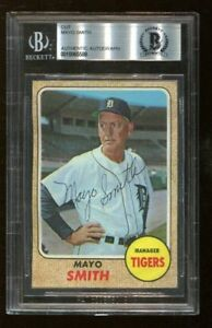 Mayo-Smith-Signed-1968-Topps-Cut-Reprint-D-1977-Autographed-Detroit-Beckett