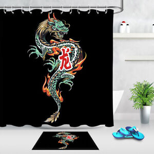 Chinese Dragon Waterproof Fabric Shower Curtain Liner Bathroom Set Accessories