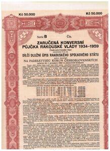 Austrian Government...Loan 1934-1959, Wien 1934, 50.000 Kronen, ungelocht, nicht