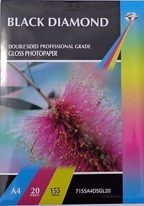 A4 155gsm Black Diamond Double Sided Gloss Paper 20 40 100 Sheets - Mansfield, United Kingdom - A4 155gsm Black Diamond Double Sided Gloss Paper 20 40 100 Sheets - Mansfield, United Kingdom