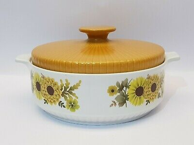 Alfred Meakin Glo White Ironstone Flowers Lidded Casserole Serving Dish Retro #2 Pottery, Porcelain & Glass