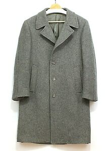 Vintage-SEARS-Basic-Casual-Gray-Wool-Winter-Lined-Coat-Overcoat-Wool-Size-42-M