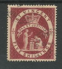 ST VINCENT SG53 THE 1888 QV 5/- LAKE FINE USED CAT £55