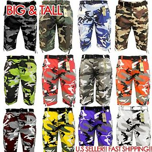 0ffc7a2bb6 BIG AND TALL BTL CAMOFLAUGE ARMY Cargo Shorts Belt CAMO SHORT Cotton ...