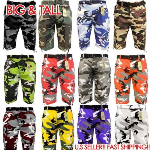 BIG AND TALL BTL CAMOFLAUGE ARMY Cargo Shorts Belt CAMO SHORT Cotton Twill 44~56