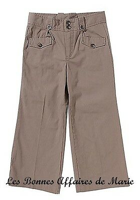 Gcarling - Liquidation - Pantalon Basique Marron Taille Ajustable 10a - Neuf