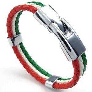 Schmuck-Armband-Italienische-Flagge-Armreif-Leder-Legierung-fuer-Herren-Da-D2