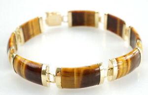 Elegantes-585er-Gold-Armband-Tigerauge-verschluss-Asiatisch-14-Kt-12-90-Gramm