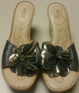 black gold leather flower born high cork heel platform euc