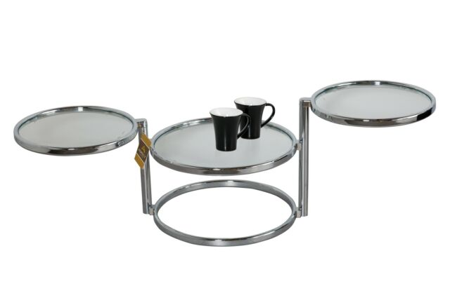 Coffee Table decore Black  Clear Glass Side  Swivel Motion-CT11
