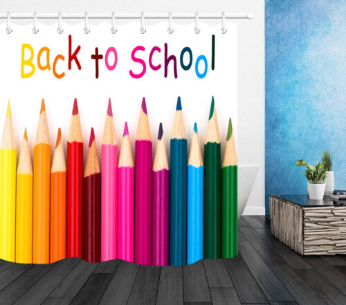 Colorful Pencil Crayon Fabric Shower Curtain Liner Back to School Bath Accessory