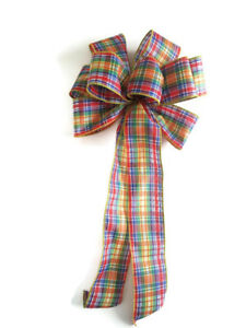 """Large 10/"""" Bandanna Wired Bow Rustic Country Wedding Handmade Red or Blue"""
