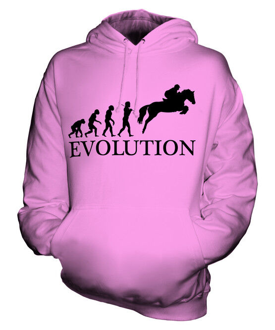 SHOWJUMPING EVOLUTION OF MAN UNISEX HOODIE MENS WOMENS LADIES GIFT EQUESTRIAN