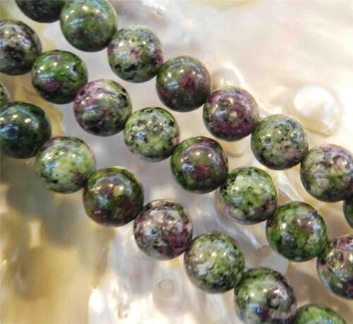 """AA 8mm Red Green Ruby Zoisite Round Loose Beads 15/"""" Strand"""