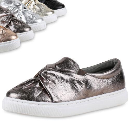 892590 Damen Sneakers Slip-ons Sportliche Slipper Metallic Schuhe Top
