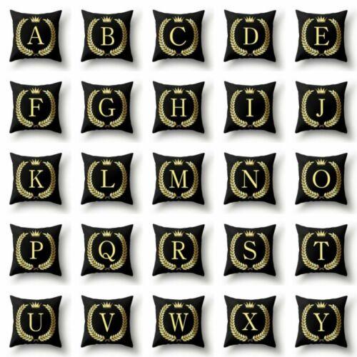 26 A-Z Letter Black Cushion Cover Linen Waist Throw Pillow Case Sofa Decor Home