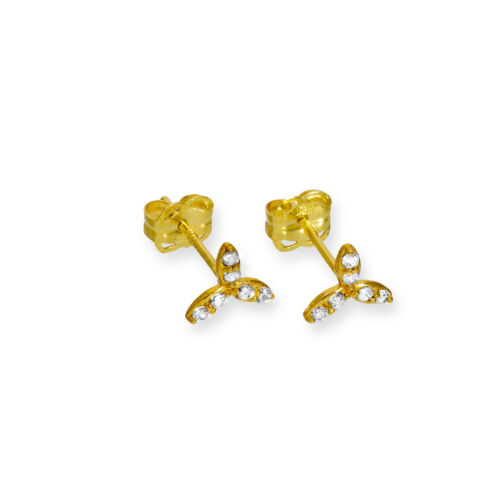 Real 375 9ct Gold /& Clear CZ Crystal Leaves Stud Earrings Plant Plantlife Garden