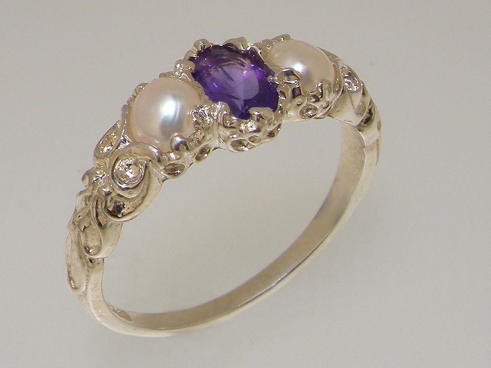 14ct White gold Natural Amethyst & Pearl Womens Trilogy Ring - Sizes J to Z